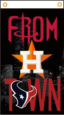 "Houston 3' x 2' or 5' x 3' Banner of Nighttime City Skyline, Rockets, Astros, and Texans ""From H Town"""