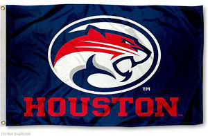 Houston Cougars: Blue Background and Red/White Cougar Flag; 3'x5'