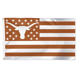 Texas Longhorns: Orange and White Stars, Stripes, and Longhorns US Flag; 3'x5'