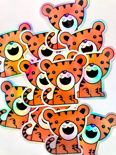 Cute Tiger Holographic Sticker