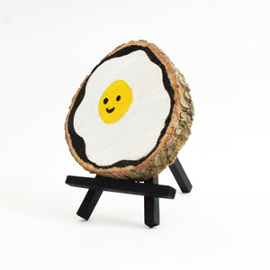 Happy Egg  - Wood Slice
