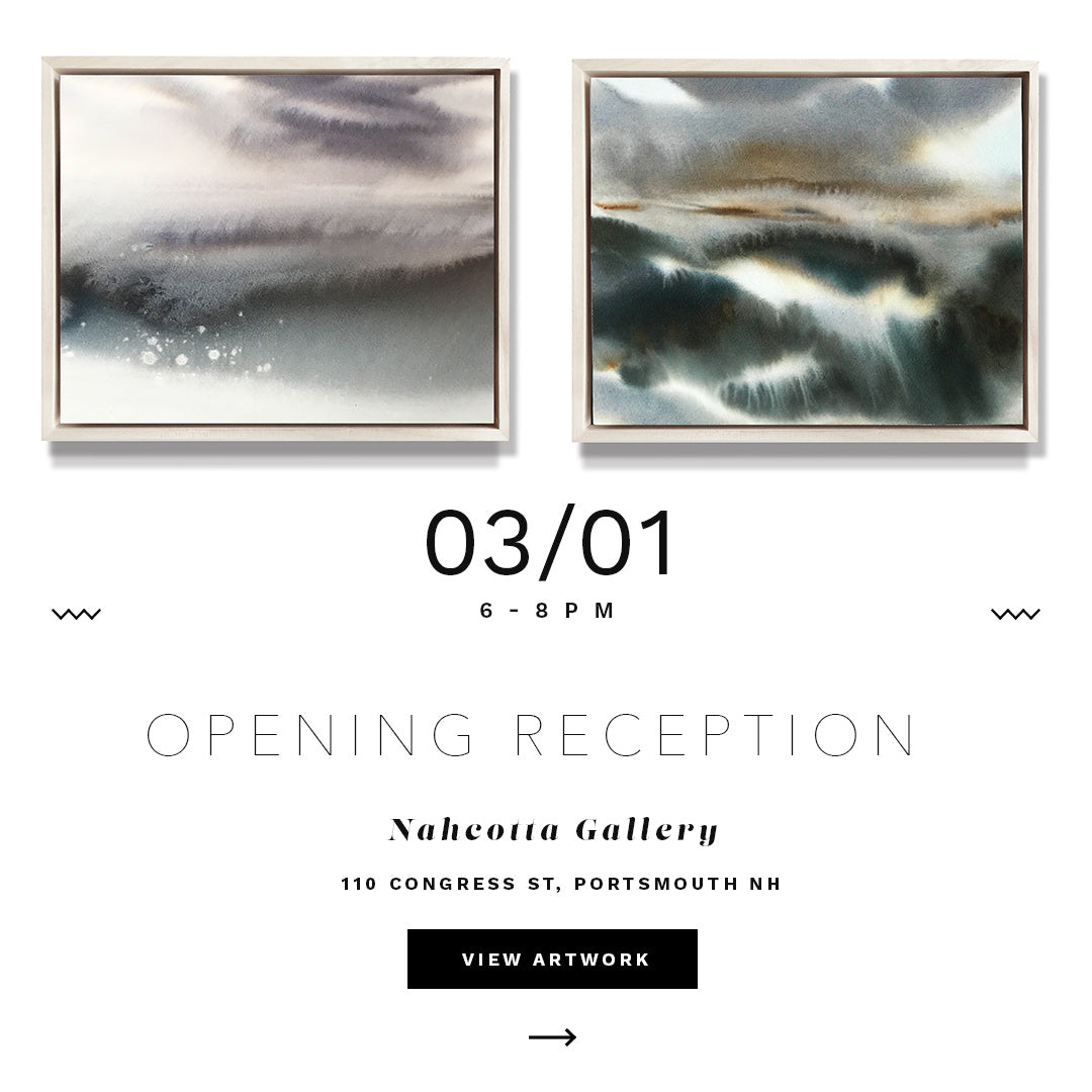 New watercolors at Nahcotta Gallery / Opening Reception:3/1