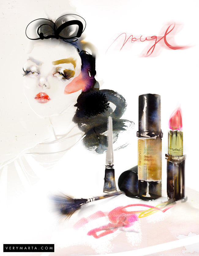 Watercolor illustration, watercolor painting perfume fashion illustration by Marta Spendowska