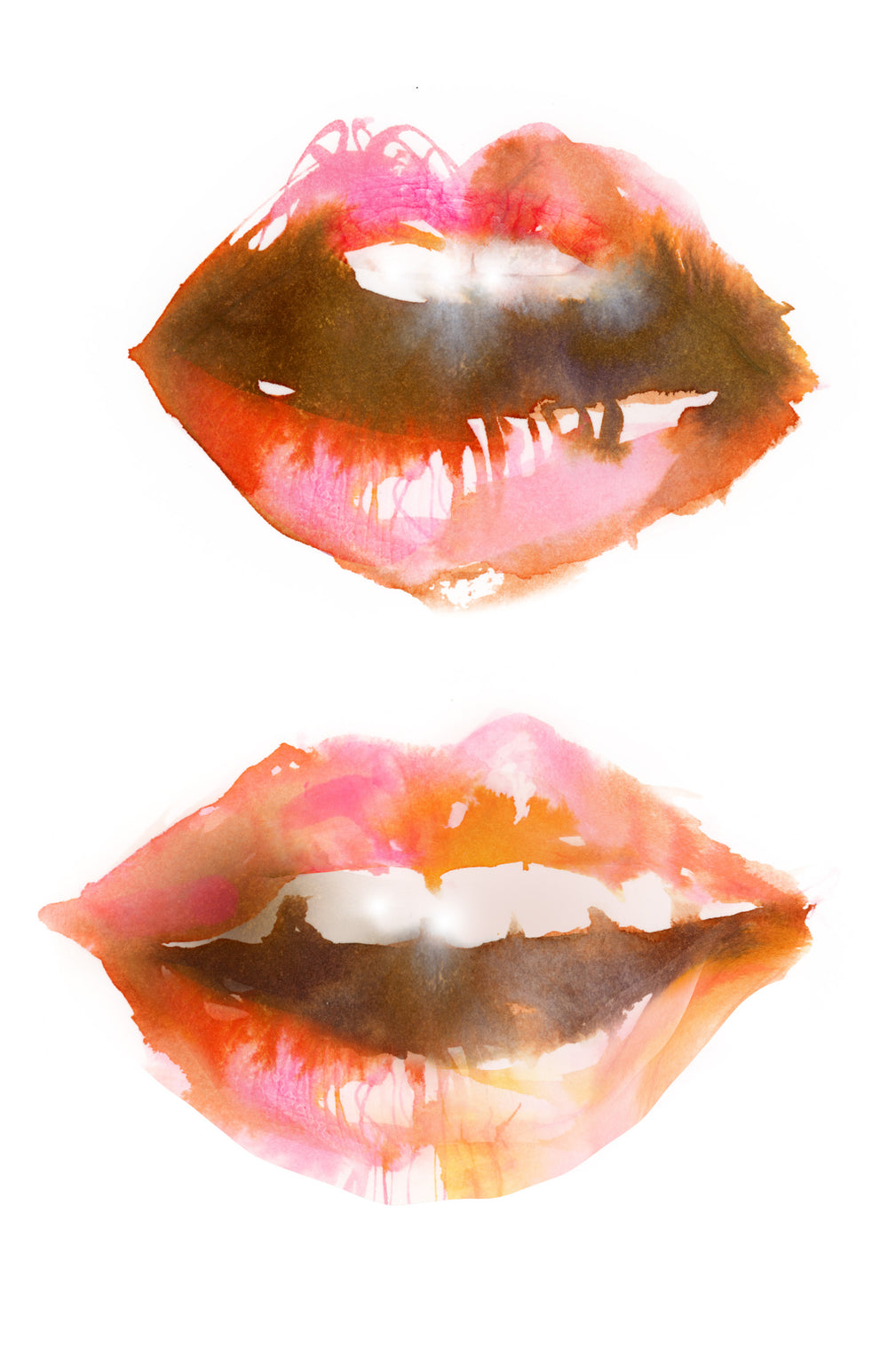 Watercolor illustration, watercolor painting portrait fashion lips illustration by Marta Spendowska