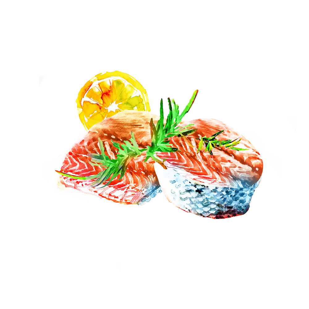 Watercolor illustration, watercolor painting veggies fish sushi salmon food illustration by Marta Spendowska