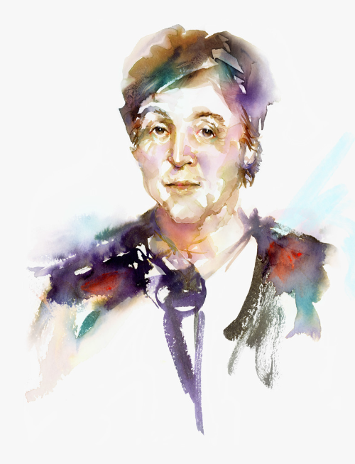 Watercolor illustration, watercolor painting portrait paulmccartney fashion illustration by Marta Spendowska
