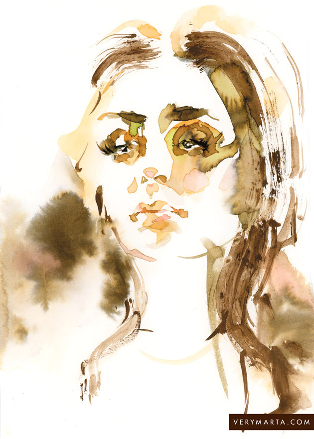Watercolor illustration, watercolor painting portrait fashion sharon tate illustration by Marta Spendowska