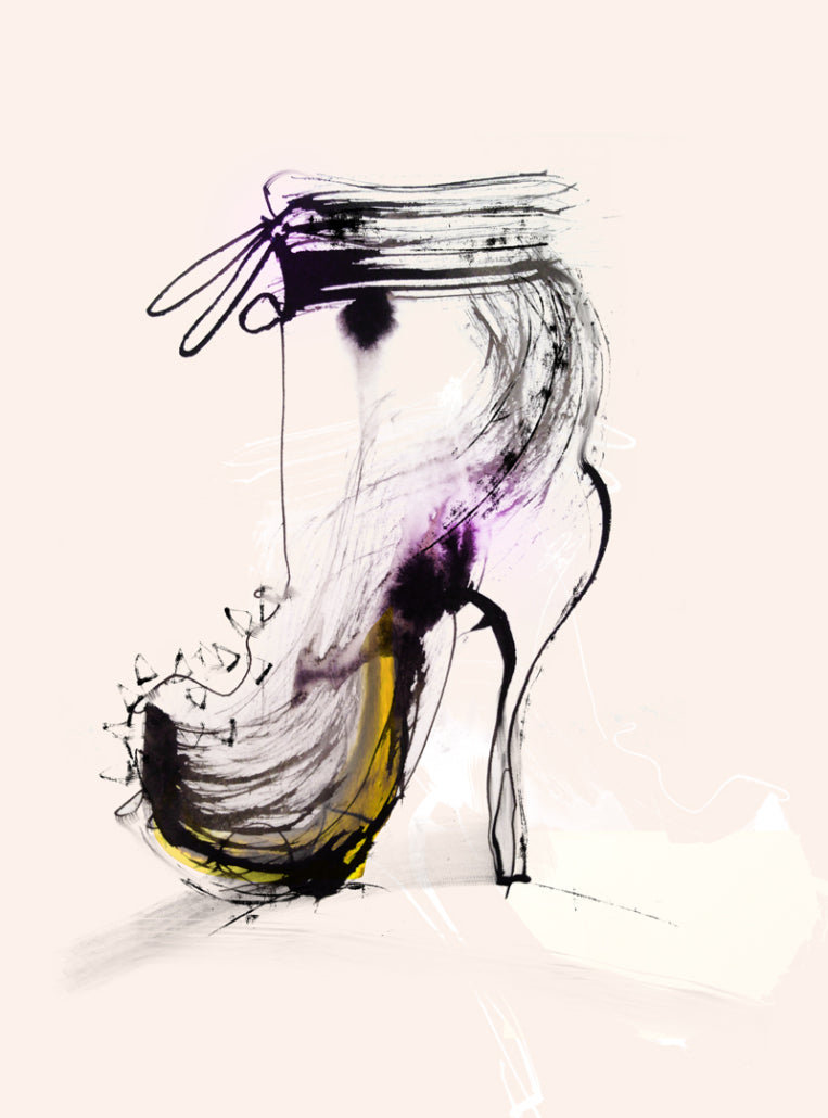 Watercolor illustration, watercolor painting shoes fashion illustration by Marta Spendowska
