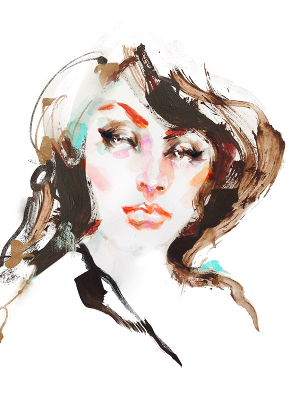 Watercolor illustration, watercolor painting portrait sophia loren fashion illustration by Marta Spendowska
