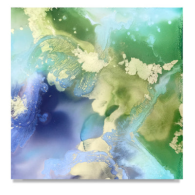 abstract art Marta Spendowska wetlands original fine art Being nursed by grass and wind 12x12""