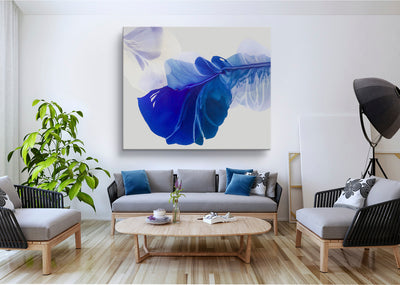 abstract art floral Marta Spendowska bloomlands original fine art Abstract Painting: Let the blue bloom the Sacred / 60x50""