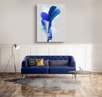 abstract art floral Marta Spendowska bloomlands original fine art Abstract Painting: The journey of innocent blue / 48x36""