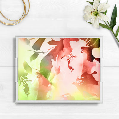 Throw Pillow watercolor abstract floral Marta Spendowska Verymarta Acrylic Tray Spring