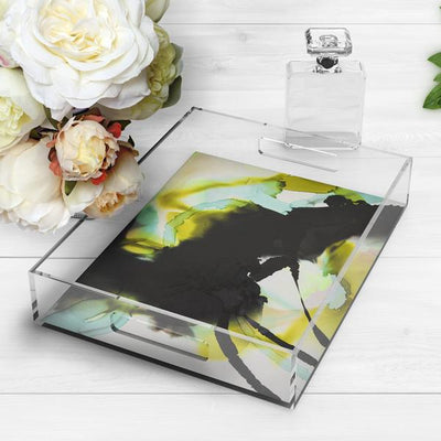 Throw Pillow watercolor abstract floral Marta Spendowska Verymarta Acrylic Tray Black
