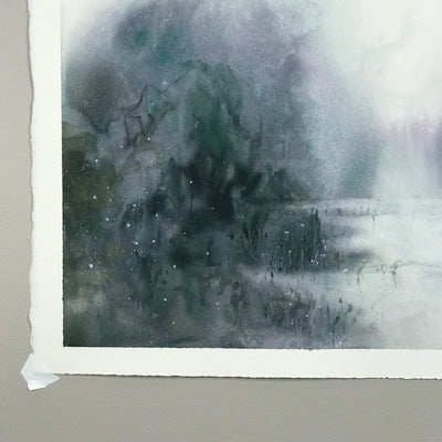 Watercolor Seascape Painting Marta Spendowska New England Landscape Marshland 2 22x15in