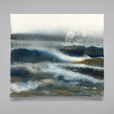 "Watercolor Seascape Painting Marta Spendowska New England ""We are meant to Pray"" 8x8""in on Paper"