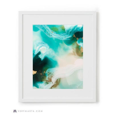 Abstract Art Prints giclee watercolor Marta Spendowska verymarta Abstract Print Blue Wetlands Lagoon 4