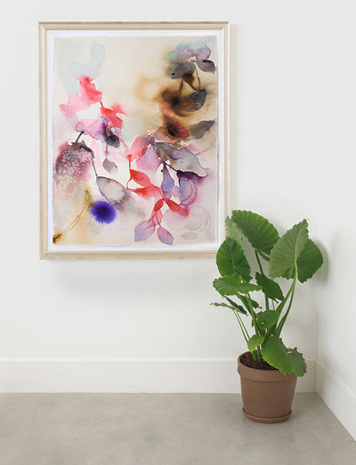 Botanical Art Flowers watercolor original art Marta Spendowska Verymarta Abstract Flora : The sweetest of leaves 15x11in