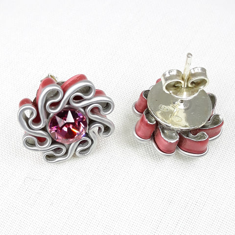 "Boucles d'oreilles clous ""Ondulations"" rose bonbon"