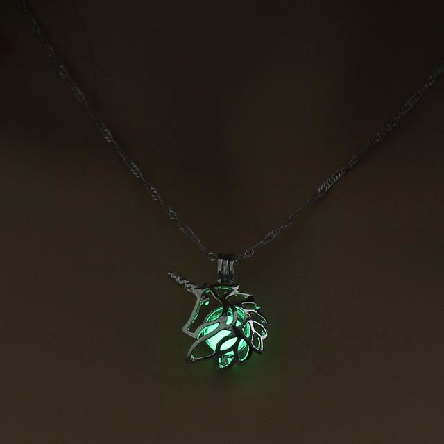 Glow In The Dark Unicorn Chain Pendant & Necklace Turquoise