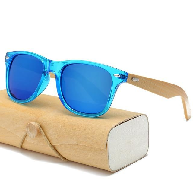 Handmade Wood Mirror Sunglasses Lucency Blue & Glasses