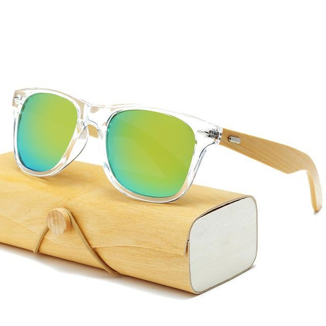 Handmade Wood Mirror Sunglasses Lucency & Gold Glasses