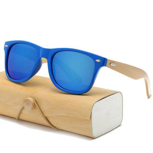 Handmade Wood Mirror Sunglasses Blue & Glasses