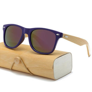 Handmade Wood Mirror Sunglasses Purple & Glasses