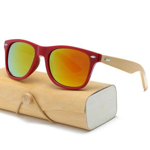 Handmade Wood Mirror Sunglasses Red & Orange Glasses