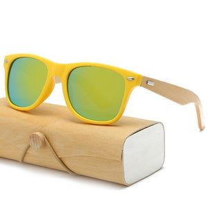 Handmade Wood Mirror Sunglasses Yellow & Gold Glasses