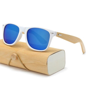 Handmade Wood Mirror Sunglasses White & Blue Glasses