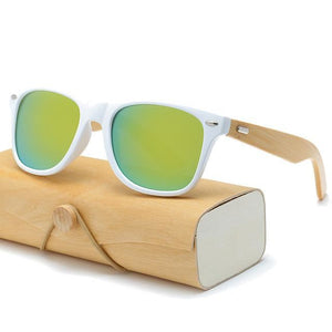 Handmade Wood Mirror Sunglasses White & Gold Glasses