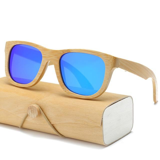Handmade Wood Mirror Sunglasses Blue Glasses