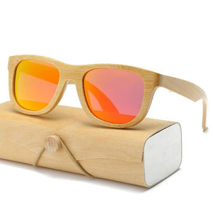 Handmade Wood Mirror Sunglasses Orange Glasses