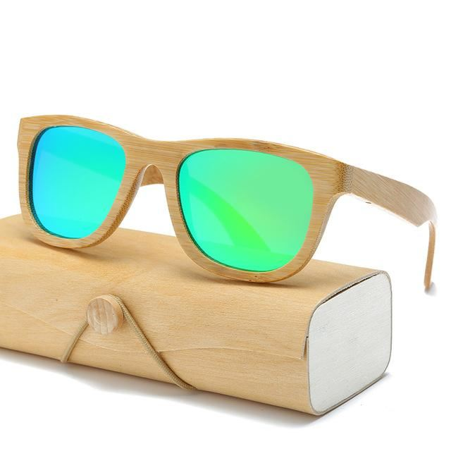 Handmade Wood Mirror Sunglasses Green Glasses