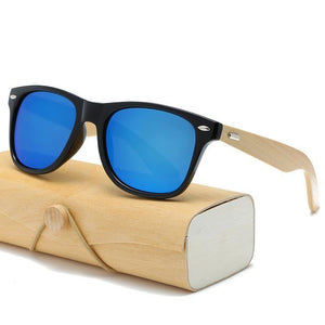Handmade Wood Mirror Sunglasses Black Blue Glasses