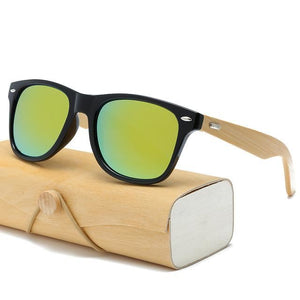 Handmade Wood Mirror Sunglasses Black Gold Glasses