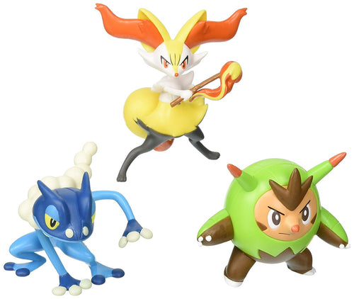Pokemon Action Pose 3 Pack, Quilladin, Braixen & Frogadier