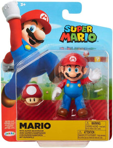 "SUPER MARIO 4"" Articulated Mario Action Figure with Super Mushroom"