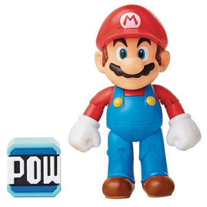 "SUPER MARIO Collectible Mario 4""Articulated Action Figure with POW Accessory"