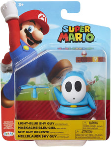 "SUPER MARIO Nintendo Collectible Blue Shy Guy 4"" Poseable Articulated Action Figure with Propeller Accessory"
