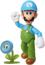 "SUPER MARIO Nintendo Collectible Ice Luigi 4"" Poseable Articulated Action Figure"