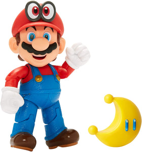 "SUPER MARIO Nintendo Collectible Mario Wearing Cappy 4"" Poseable Articulated Action Figure with Yellow Power Moon"