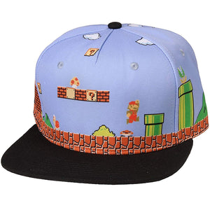 Super Mario Bros. 8-Bit All Over Scene Snapback Hat
