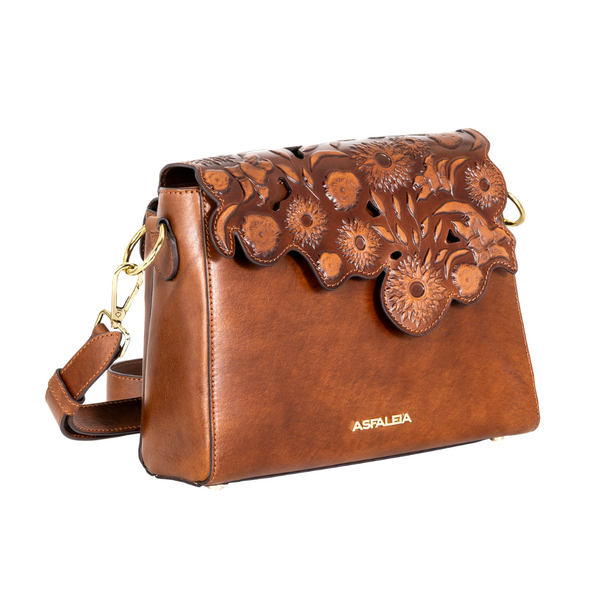 Crossbody Flower Bag in Brown