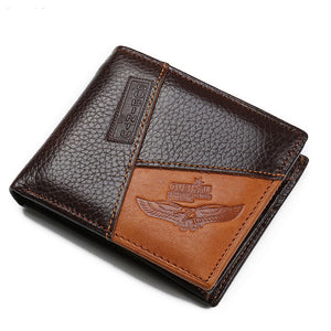 Genuine Leather Mens Wallets Coin Pocket Zipper