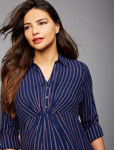 Luxe Essentials Striped Maternity Shirt