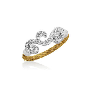 ALOR Classique 18K White Gold Yellow Cable Ring 02-37-S061-11