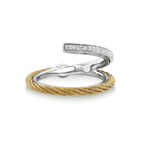 ALOR Classique 18K White Gold Yellow Cable Diamond Ring 02-37-S710-11