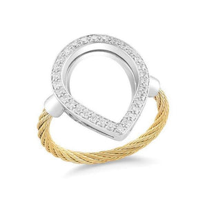 ALOR Classique 18K White Gold Yellow Cable Diamond Ring 02-37-S736-11